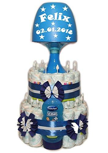 'pañales para tartas con niños Lámpara 'Estrellas + Nombre + Fecha–Azul