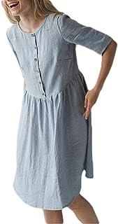 neveraway Women Half Sleeve Casual Weekend Linen Solid Oversized Party Dress