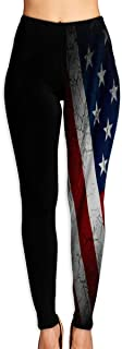 Tumblr American Flag Yoga Leggings Elastic Fitness Pants Mid-Waist Soft Yoga Pants for Women
