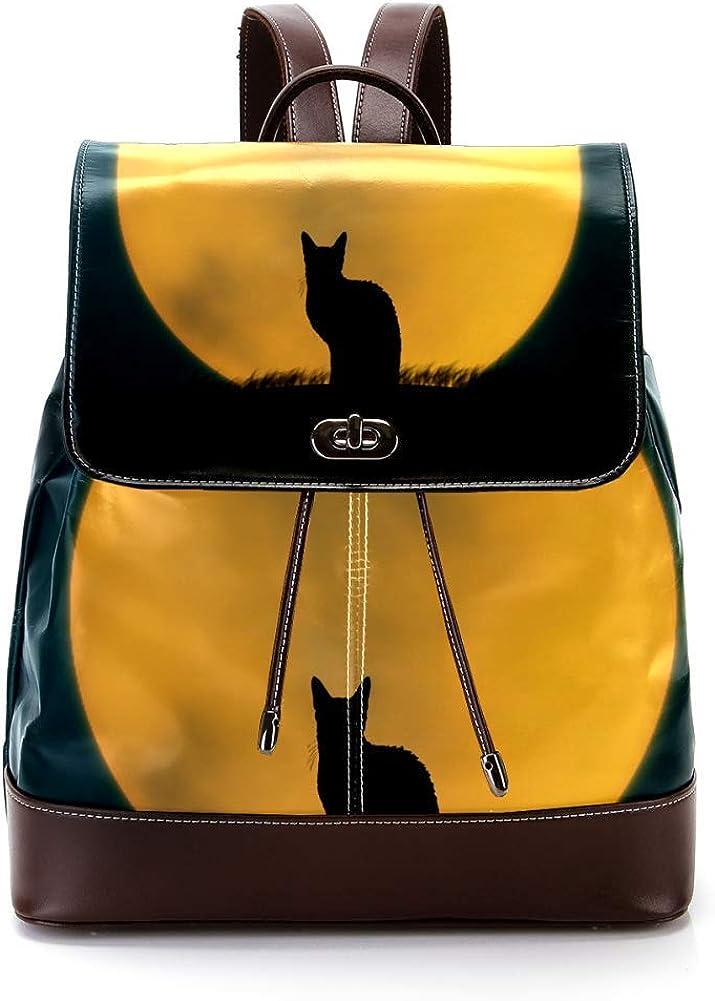 Halloween Cat PU Leather Backpack Fashion Shoulder Bag Rucksack Travel Bag for Women Girls
