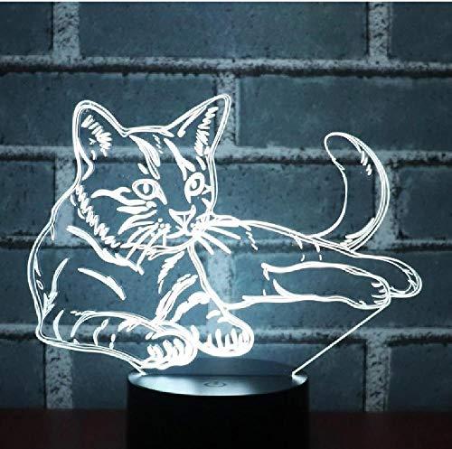 Alerta De Luz Nocturna Led 3D, Gato Acostado Con Luz De 7 Colores Para Lámpara De Decoración Del Hogar, Visualización Increíble, Ilusión Óptica