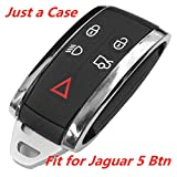 KAWIHEN Keyless Entry Remote Car Key Fob Shell Replacement for KR55WK49244 2677-5WK49 2677-5WK49244 CCAF06LP063011 Jaguar X S-Type XF XK XKR 5B(Just a Case)