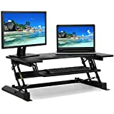 Best Choice Products 36in Height Adjustable Standing Tabletop Desk Sit to Stand Workstation Monitor Riser w/Gas Spring