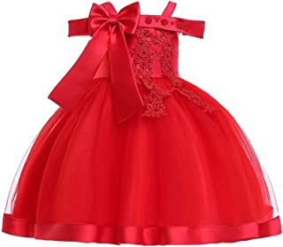 BestGift Children Wedding party Kids Dresses for girls Open back Beading Flower girls baby Girls Clothes Kids Christmas Pa...