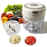 Mini Electric Garlic Chopper USB Charging Wireless Electric Garlic Press Mincer Food Chopper Blender to Chop Fruits Vegetables 2 containers of different sizes Kitchen Accessories (250&100ml)