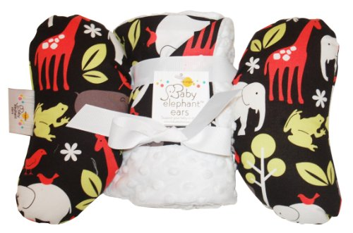 Baby Elephant Ears Head Support Pillow & Matching Blanket Gift Set (Zoology)