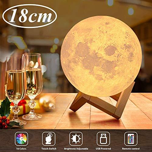 18cm LED Mond Lampe mit Fernbedienung,OxyLED Farbige Dekoleuchte 3D Mond Kunst LED RGB Mondlicht tragbares Nachtlicht mit Dimmbar,16 Lichtfarben wechsel,Weihnachtsgeschenk, Geburtstagsgeschenk