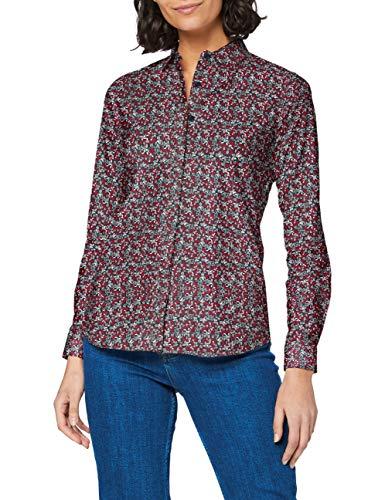 Mexx Damen Hemd, Mehrfarbig (Leaves Printed 318185), Small (Herstellergröße: S)