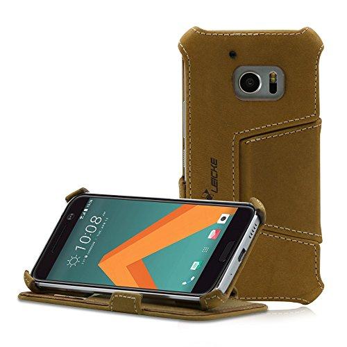 Manna HTC 10 (One M10) Hülle, Lederhülle Tasche Handyhülle | Hülle aus Nubukleder mit Standfunktion | HTC 10 Schutzhülle Leder