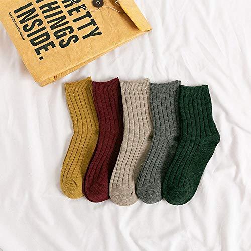 MoonyLI Damen Winter Socken Crew Kaschmir Retro Dicke warme weiche Wollsocken 5 Paar Sport Strick Socke