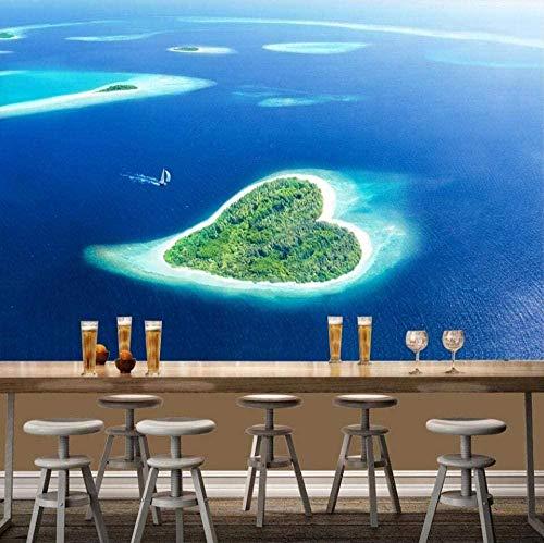 ZZXIAO Azure Sea Heart-Shaped Island Mittelmeer wandpapier fototapete 3d effekt tapete Wohnzimmer Schlafzimmer Hintergrundbild-430cm×300cm