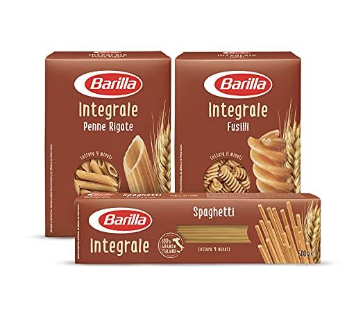Barilla Pasta Fusilli Integrali, Pasta Corta Di Semola Integrale Di Grano Duro, Integrale, 500 g + Pasta Spaghetti Integrali + Paste Penne Rigate Integrali