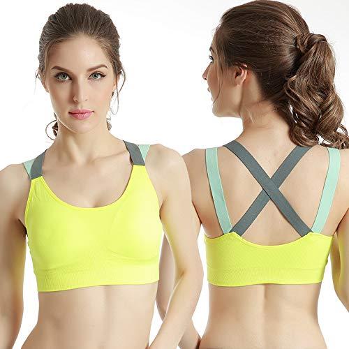 Belleza cruzada de nuevo sin anillo de acero sujetador deportivo chaleco profesional a prueba de golpes gimnasio de yoga sujetador ropa interior de comercio exterior mujer verde fluorescente S