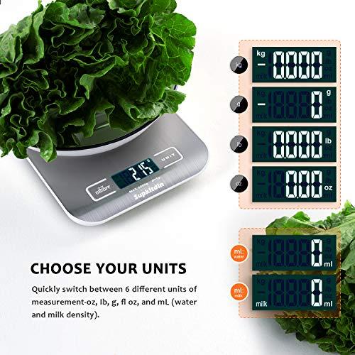 51EHdM1kD2L - Supkitdin Básculas de Cocina Digitales, básculas de Cocina de Acero Inoxidable de Primera Calidad, Pantalla LCD, Viene con un útil tapete de Silicona (Plateado)