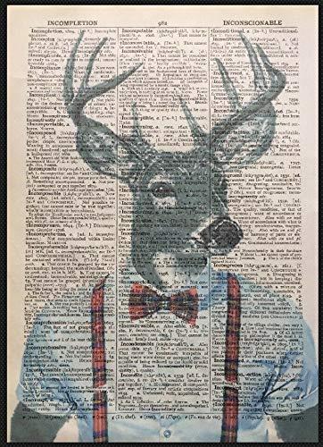 Parksmoonprints - Quadro decorativo, con disegno di testa di cervo su pagina di dizionario, colore: rosso