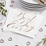 Ginger Ray Best Day Ever Rose Gold Paper Napkins Pack Of 20 - Beautiful Botanics