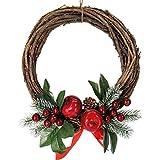 Stefanazzi Corona de Navidad 30 cm de Manzanas Rojas Adornos navideños para la Chimenea Adornos para la Puerta de la Chimenea Entrada y Centro de la Guirnalda Corona de Navidad