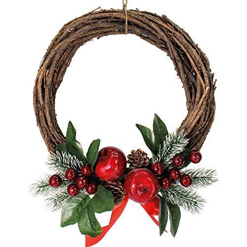 Corona de Navidad 30 cm de Manzanas Rojas Adornos navideños para la Chimenea Adornos para la Puerta de la Chimenea Entrada y Centro de la Guirnalda Corona de Navidad