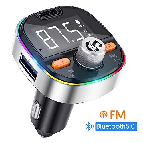 Bluetooth FM Transmitter MEKUULA Autoradio Adapter 2 USB Ports PD3.0 Ports mit Mikrofon und Freisprecheinrichtung,Siri Google,Bass Effekt,Speicherfunktion,Sieben Farben LED Hintergrundbeleuchtung