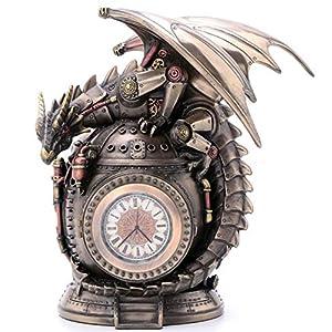 7.25″ Steampunk Dragon on the Time Machine Trinket Box Jewelry Box Gothic
