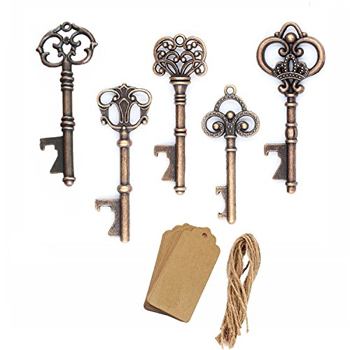 AmaJOY 50pcs Assorted Vintage Skeleton Key Openers Antique Copper Wedding Favors Birthday Party Gifts