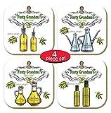 PICTOR Gift Fusty Grandma's Olive Oil Absorptive Dekoratives Untersetzer-Set, Metall, gepresst mit...