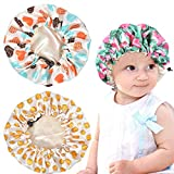 3 Pieces Kids Satin Bonnet Adjustable Sleeping Cap Soft Silk Flower Night Hats for Natural Hair Teens Toddler Child Baby Reversible Double Showering Caps