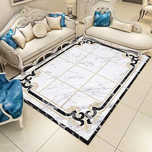 DLSM Imitation marble pattern golden lines checkered geometric printing carpet office sofa coffee table living room bedroom kitchen decorative carpet-50x80cm