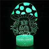 3D LED Luz de noche LED Ilusión óptica Lámpara de mesa 7 colores con Acrílico Plano & ABS Base & usb [Clase de eficiencia energética A] Casa de setas-Touch+Remote