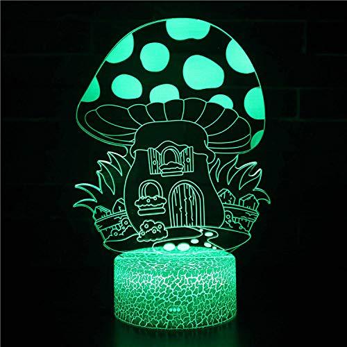 Casa de setas 3D lámpara visual bebé noche luz auto cambio ilusión lámpara decoración mesa luz para niños niños niñas