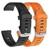 Isabake Correa de Reloj para Garmin Vivoactive 3/3Music / Forerunner 245/245 Music/Forerunner 645/645 Music, Correa de Repuesto de Silicona Suave para Accesorios Garmin Watche(Naranja Negro)