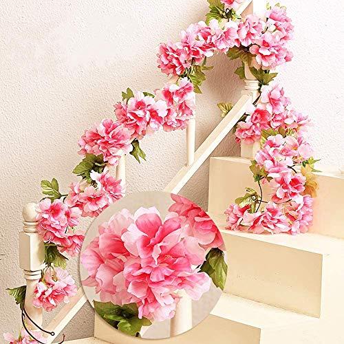 MZMing 2piecesx235cm Artificial Cereza Colgando Vid Flor Artificial Brote Flor Planta Artificial Flor Vid Hojas Para Familia Jardín Fiesta Cerca Decoración de la Boda-Rojo
