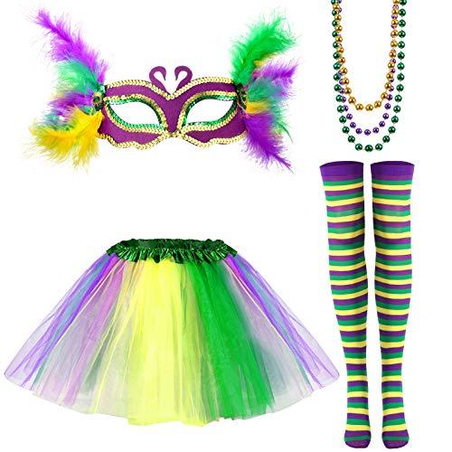 Set de 6 Accesorios de Disfraz de Mardi Gras, Falda Tutu Arc