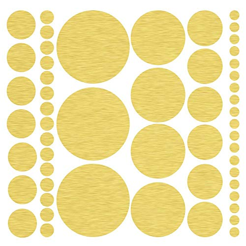 (317) Assorted Size Gold Polka Dot Decals - Repositionable Peel and Stick Circle Wall Decals for Nursery, Kids Room, Mirrors, and Doors
