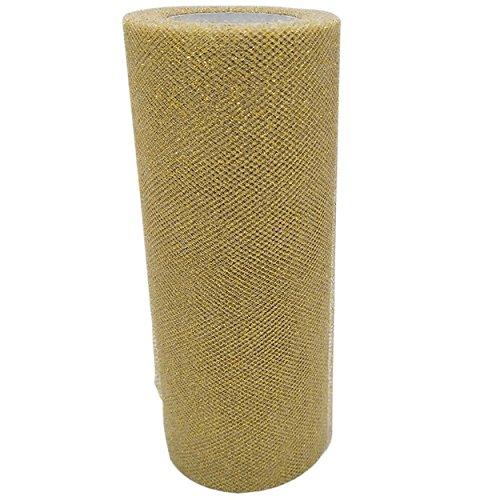 Tüll Dekostoff Glitzer Tüllband Tischläufer Tischband Tüllnetz für Hochzeit Party Bankett Deko Handwerk 15cm x 22.5m pro Rolle (Golden mit Glitzer)