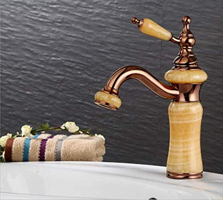 Retro Deluxe Fauceting European pink gold Basin Cold and Hot Natural Pagoda Jade Table Basin Faucet Copper Washing Basin Faucet