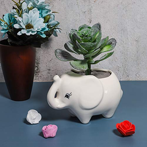 Hankyky Elephant Plant Pot Cute Elephant Pen Pot Ceramic Planter Green Plants Flower Pot with Hole for Garden Home Office Desk Decoration