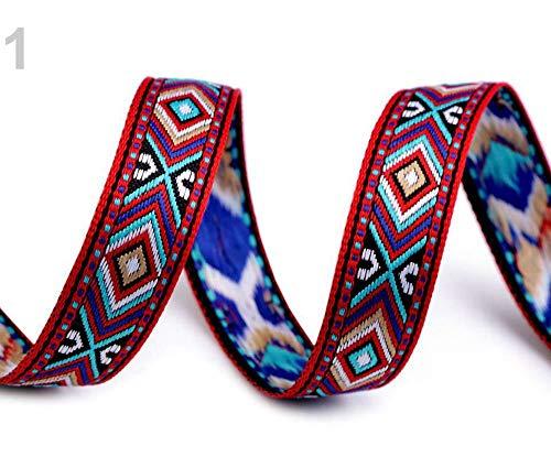 2m Red Jacquard Ribbon indischen Design-Breite 16mm, Designs, Trimmen Bänder, Folk Schleifen Und Einsetzen Rohrleitungen, Kurzwaren