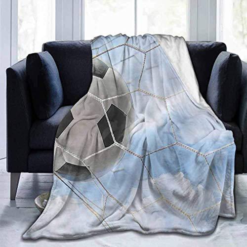 Leisure-Time Throw Blanket Sports, Fußballtor Bewölkter Himmel, Bett oder Couch Travel Multi Use