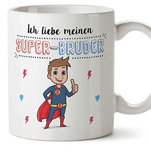 MUGFFINS Bruder Tasse/Becher/Mug - Ich Liebe Meinen Super-Bruder - Schöne und lustige Kafeetasse als Geschenk für Geschwister. Keramik 350 ml