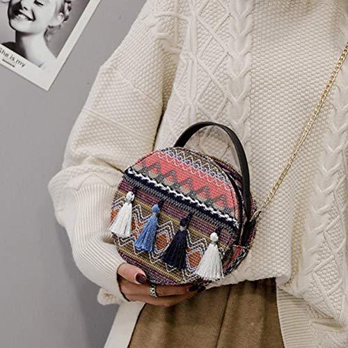 Schimer PVC schoudertas vrouwen Bohemen Vintage kwast kleine draagbare ketting ronde tas 18 * 18 * 7 cm blauw