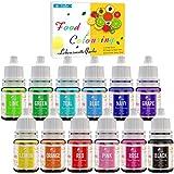 Lebensmittelfarbe - 12 Farben Flüssige Lebensmittel Farben zum Kuchen Backen, Macaron, Kekse,...