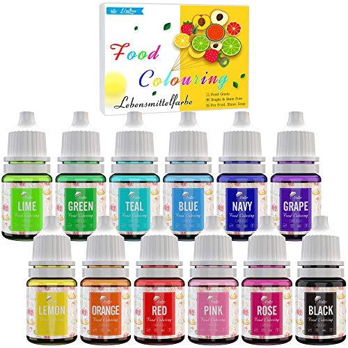 Lebensmittelfarbe - 12 Farben Flüssige Lebensmittel Farben für Kuchen Backen, Kekse, Macaron, Dekorieren und Kochen, Fondantieren - Lebendiger Lebensmittelfarbstoff für Airbrush, DIY...