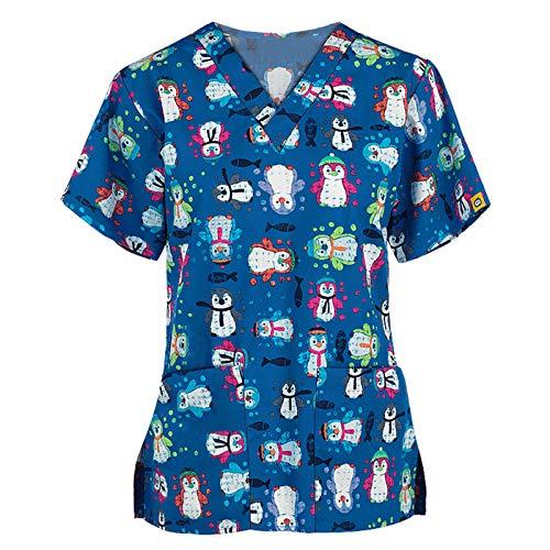 Dasongff V-Neck Kasack, Schlupfhemd mit Motiv Bedruckt in Arztkleidung das...