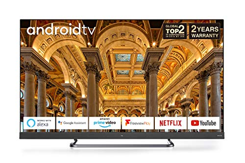 TCL 55EC788 55-Inch 4K Ultra HD Smart Android TV, Freeview Play, Prime Video, Netflix, YouTube, ONKYO Dolby Atmos Sound, Far-field Voice Control Built-in, HDR10+, Frameless Metal Design