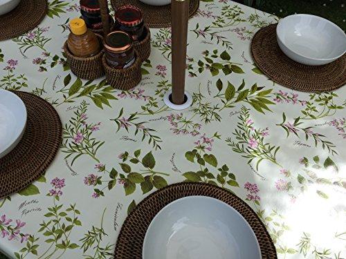 Nappe ronde en PVC/vinyle, 1,40 m de diamètre, motifs herbes aromatiques, avec trou de parasol