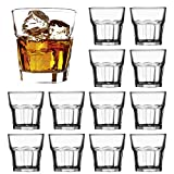 Whiskey Glasses 8 oz,QAPPDA Clear Drinking Cups Glass Cups,Cocktail Glass Whiskey Shot Glasses Set for Restaurants,Bars,Parties,Vodka Glass Cups Water Cups 12 Pack