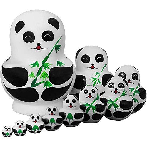 Kpcxdp Juguetes para niños 10 Pandas de Madera Lindas Pintadas Muñecas de anidación Russas Babels Regalo Pintura Juguetes Decorativos Decorativos Decorativos A