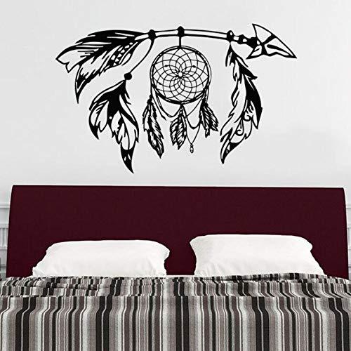 jiuyaomai Flecha Etiqueta de la Pared Atrapasueños Vinilo Etiqueta de la Pared Diseño Bohemio Dormitorio Decoración Dream Catcher s Símbolo Mural de Pared Blanco 57x35cm