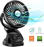 Stroller Fan Clip on Portable Fan - COMLIFE F150 Small Desk Fan with Rechargeable 4400 mAh Battery Powered Fan, Stepless Speeds, Aroma Diffuser & Powerbank Function for Camping, Travel, Office